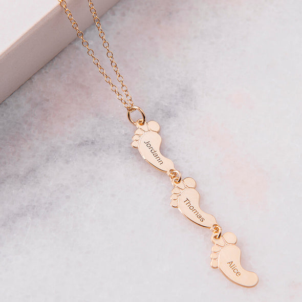 925 Sterling Silver Vertical Baby Foot and Pet Paw Necklace Family Necklace