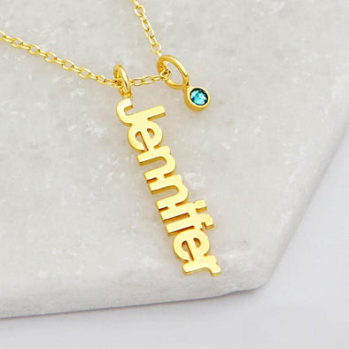 925 Sterling Silver Personalized Vertical Name Necklace with Birthstone
