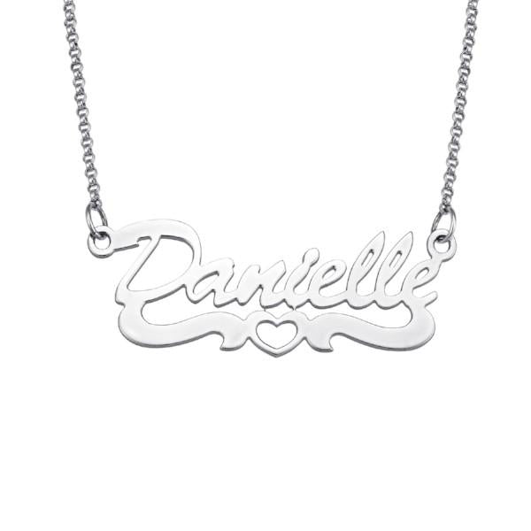 925 Sterling Silver Heart Script Name Necklace #N124 Nameplate Necklace - onlyone