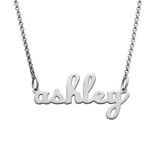925 Sterling Silver Lowercase Script Name Necklace Nameplate Necklace - onlyone