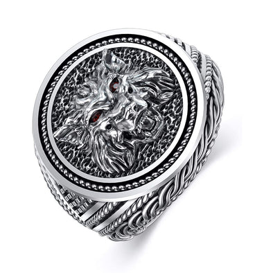 925 Sterling Silver 3D Howling Wolf Ring