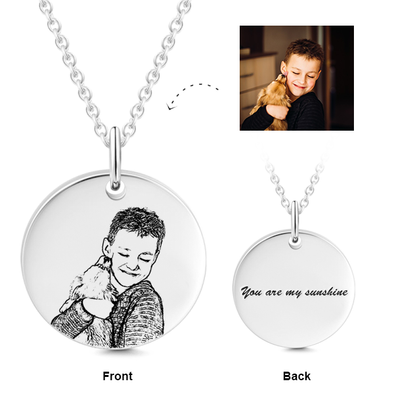 925 Sterling Silver Kids Engraved Photo Necklace Inspirational Gift - onlyone