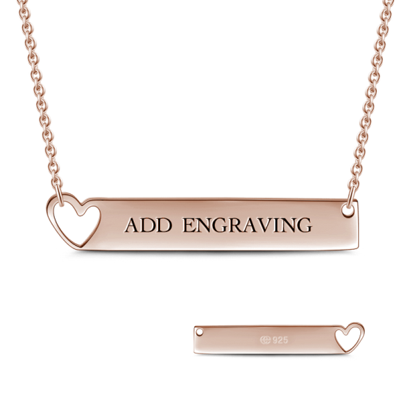 "14K Gold Personalized Heart Engravable Bar Necklace Adjustable 16"" - 20"" White Gold/Yellow Gold/Rose Gold - onlyone"