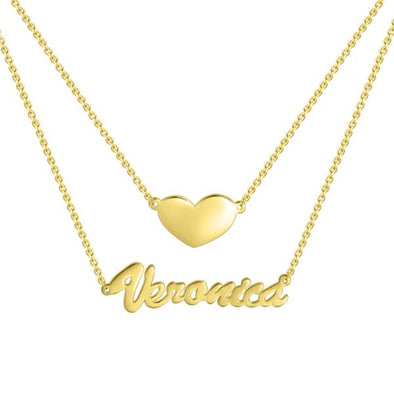 925 Sterling Silver Two Layers Heart Name Necklace Nameplate Necklace - onlyone