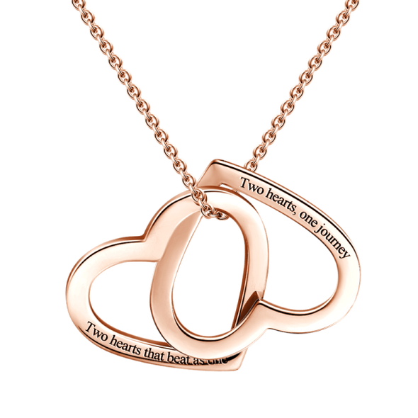 925 Sterling Silver Engraved Two Heart Double Name Necklace - onlyone