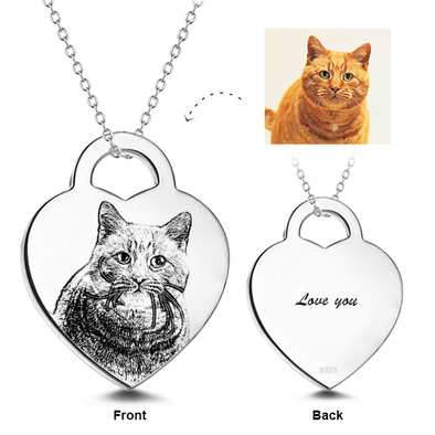 925 Sterling Silver Engraved Pets Photo Necklace Inspirational Gift - onlyone