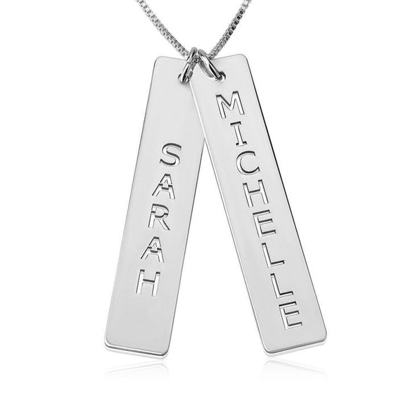 925 Sterling Silver Cut Out Engraved Vertical Two Bar Name Necklace Nameplate Necklace - onlyone