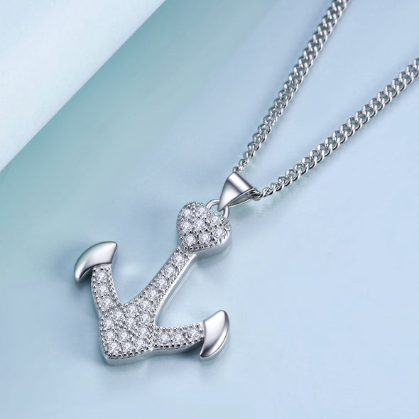925 sterling silver ship's anchor fashion necklace - onlyone