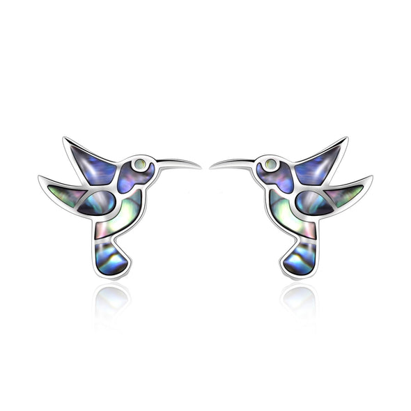 925 sterling silver, little hummingbird stud fashion earrings - onlyone