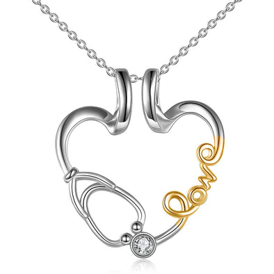 925 Sterling Silver Love Nurse Stethoscope Pendant Ring Holder Necklace