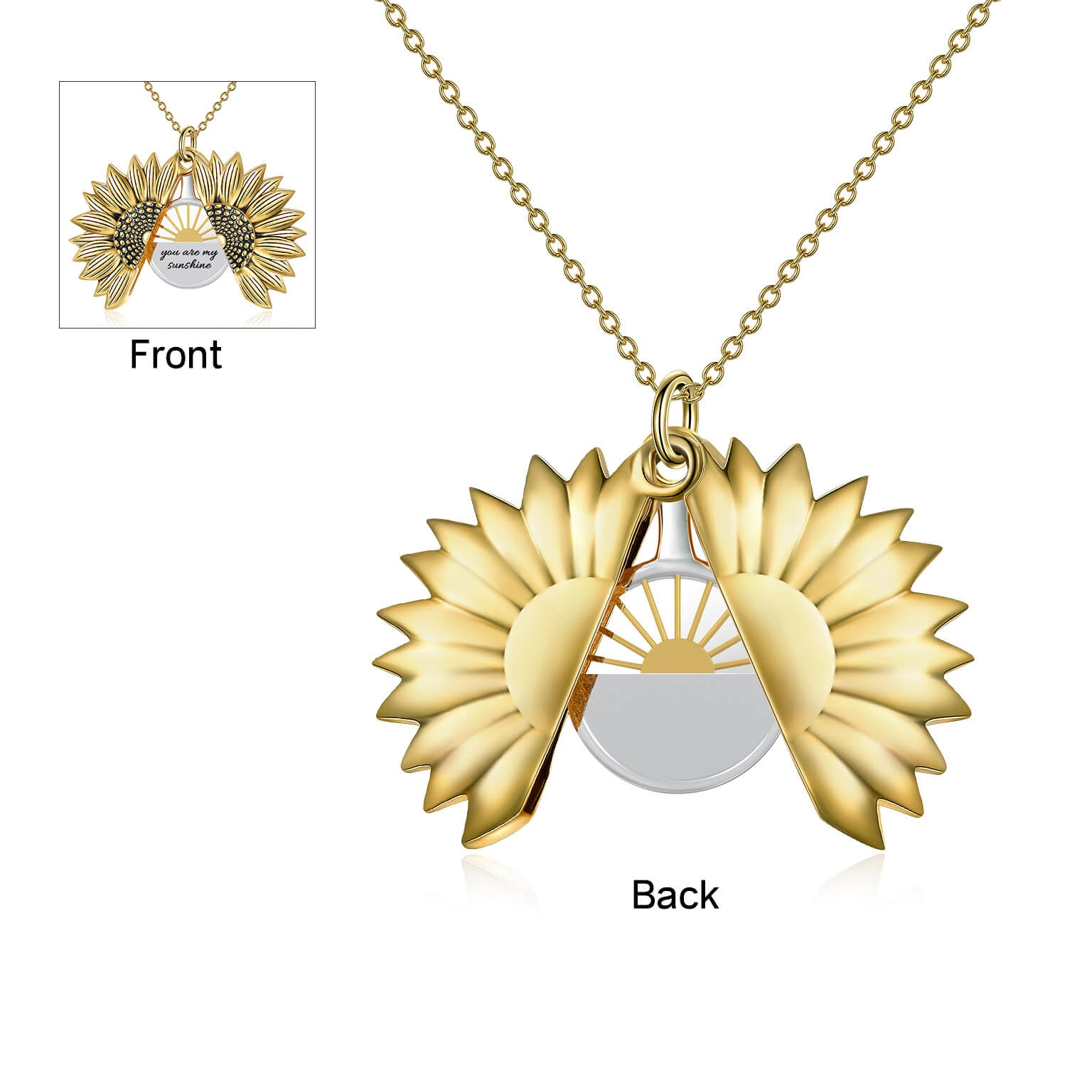 925 Sterling Silver Vintage Customized Open Locket You Are My  Sunshine Sunflower Pendant Necklace - onlyone
