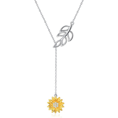 925 Sterling Silver Lariat Sunflower Necklace