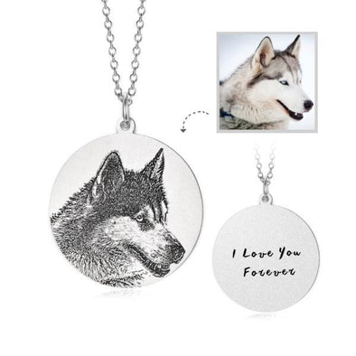 925 Sterling Silver Pet Lithograph Pet Portrait Pet Paw Print Engraved Coin Photo Necklace - onlyone