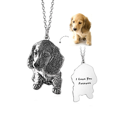 925 Sterling Silver Personalized Engraved Pets Photo Necklace,  Engraving Back Side, Dog/Cat Necklace - onlyone