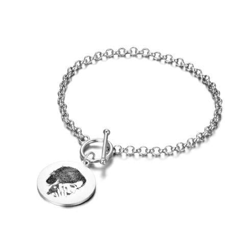 925 Sterling Silver Personalized Engraved Photo Bracelet - onlyone