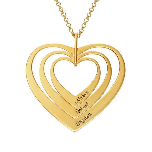 925 Sterling Silver Three Heart Engraved Name Necklace  Gift Nameplate Necklace - onlyone
