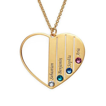 4 Birthstone Heart Name Necklace-Engraved Necklaces-YAFEINI-yafeini-personalized-custom-jewelry