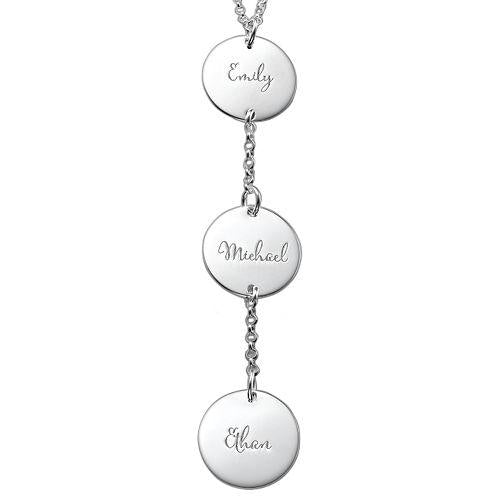 925 Sterling Silver Vertical Three Name Engraved Coin Necklace Nameplate Necklace - onlyone