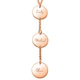 925 Sterling Silver Vertical Three Name Engraved Coin Necklace -Yafeini® Design