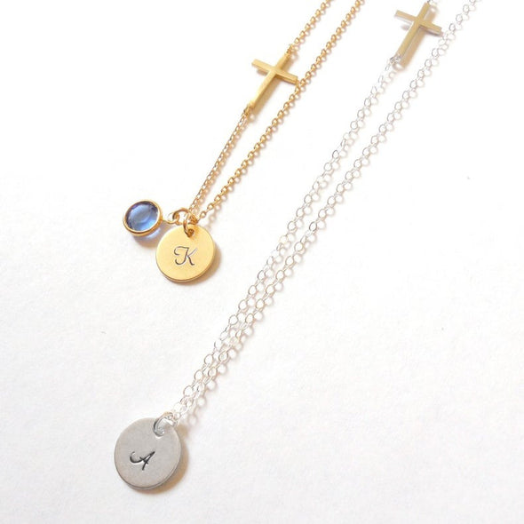 925 Sterling Silver Sideways Cross Necklace, Custom Initial Birthstone Necklace