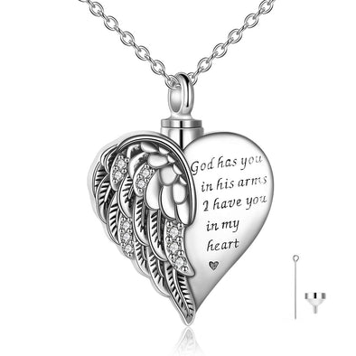 925 Sterling Silver Angel Wing Heart Cremation Jewelry Memorial Keepsake Urn Necklace