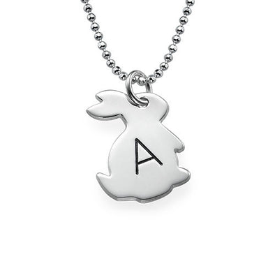 925 Sterling Silver Tiny Rabbit Initial Necklace - onlyone