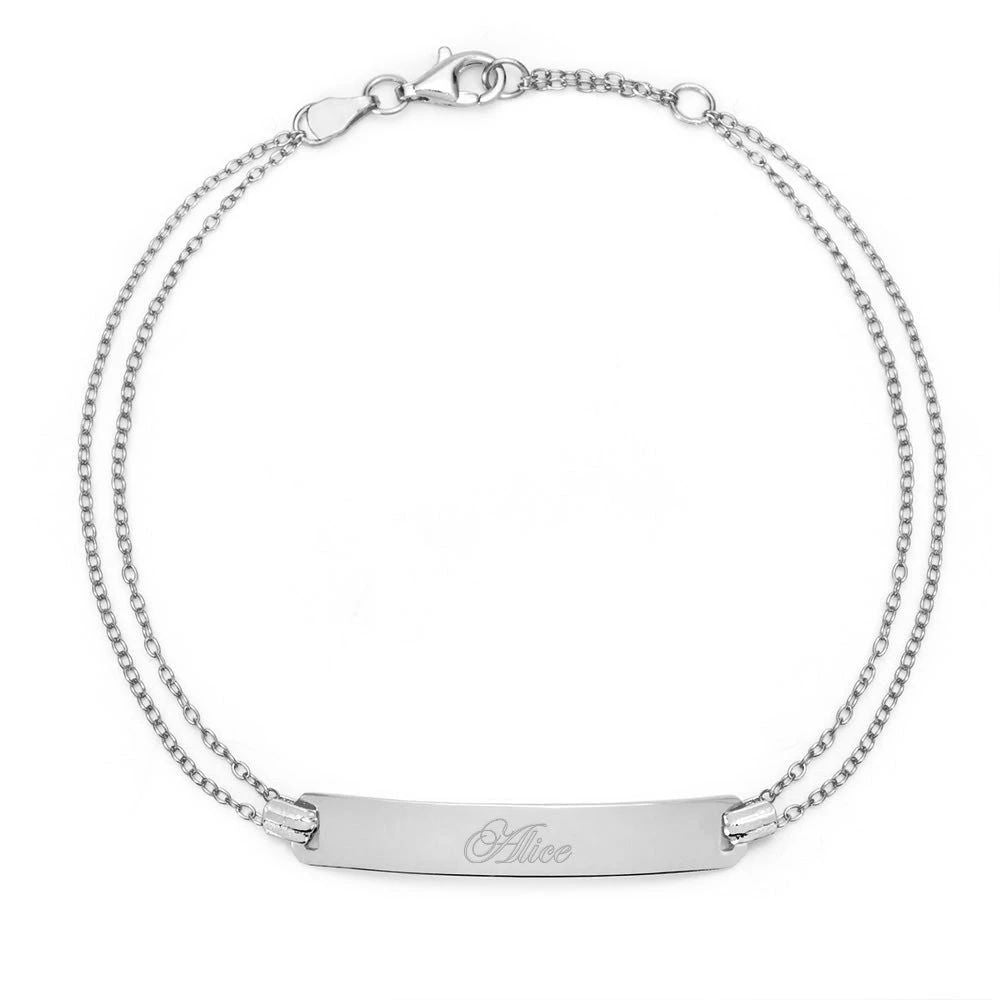 925 Sterling Silver Personalized Double Chain Bar Engraved Bracelet