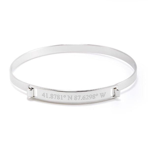 925 Sterling Silver Personalized Coordinate Engraved Bangle - onlyone