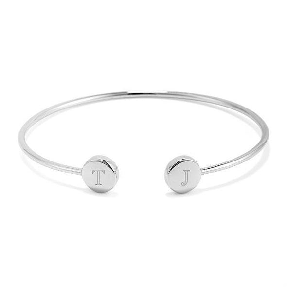925 Sterling Silver Personalized Engraved Double Signet Cuff - onlyone