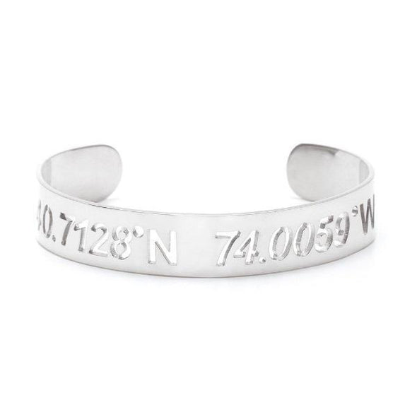 "925 Sterling Silver Personalized Coordinate Cut Out Cuff 6""-7.5"" Inspirational Bracelet - onlyone"