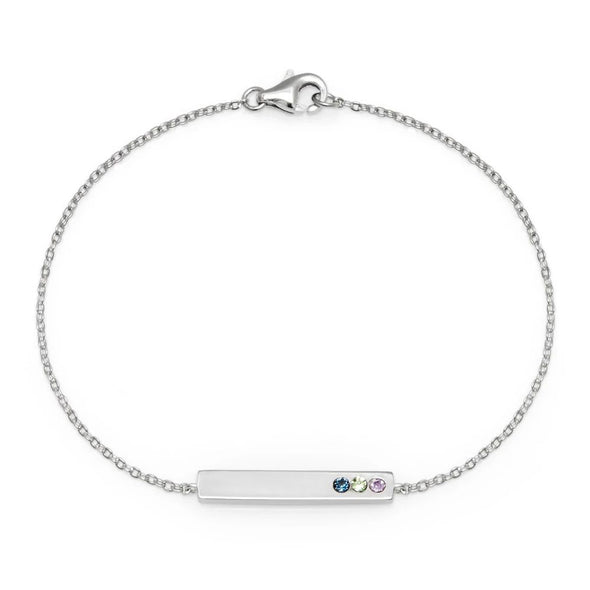 925 Sterling Silver Custom Bar Name Bracelet With Birthstone, Birthday Gift For Her