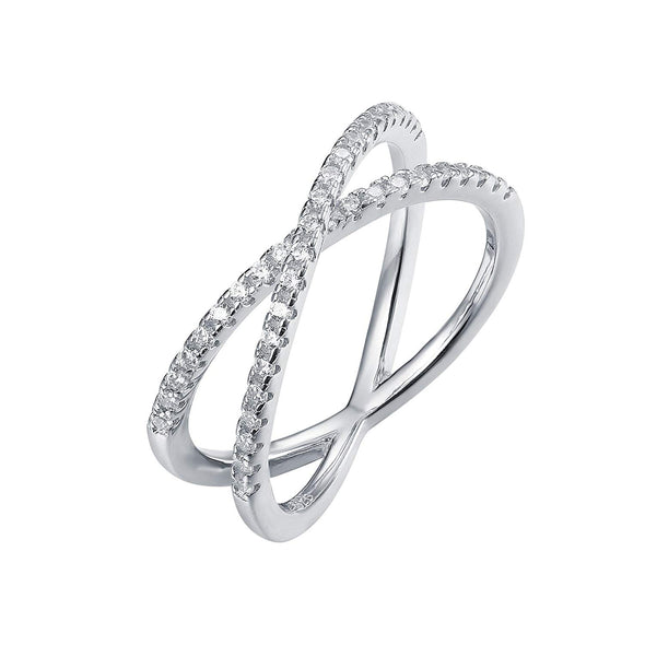 925 Sterling Silver X Ring Simulated Diamond CZ Criss Cross Ring for Women - onlyone
