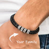 Mens Leather Bracelet with 925 Sterling Silver Custom Bead, Father's Day Bracelet - onlyone