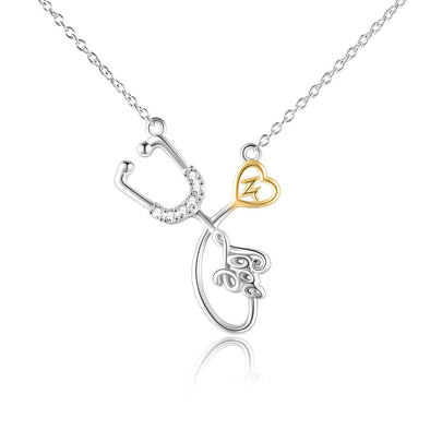 925 Sterling Silver Stethoscope Necklace