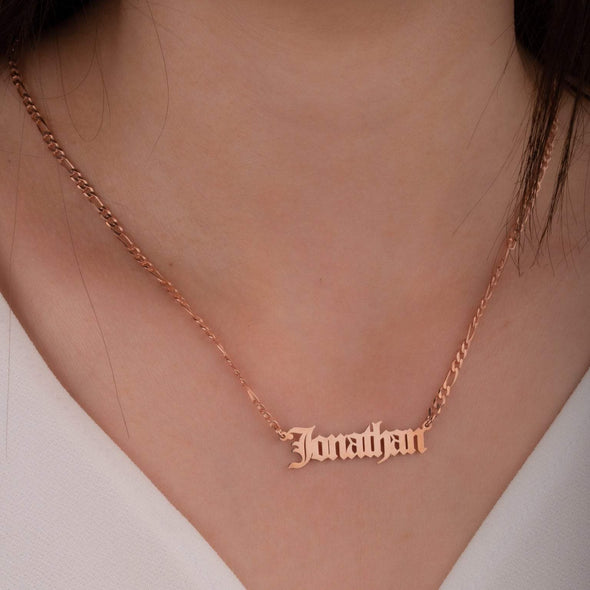 925 Sterling Silver Name Necklace In Figaro Chain