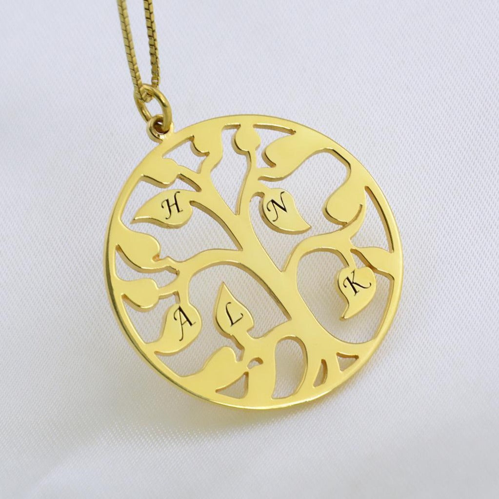 925 Sterling Silver Tree Of Life With Initial Engraved Necklace Gift For Mom - Only One