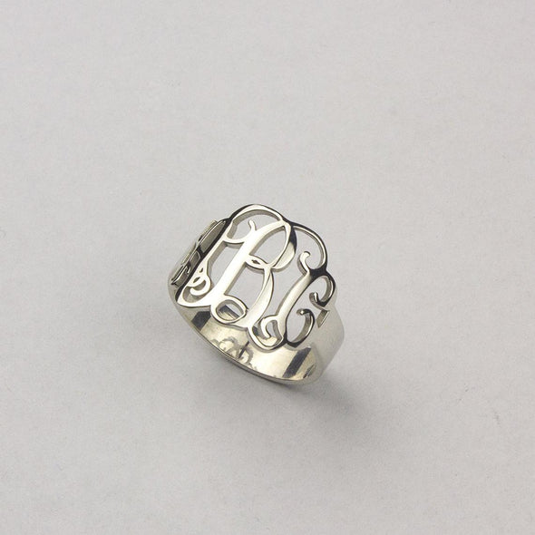 925 Sterling Silver Personalized Script Style Thick Monogram Ring