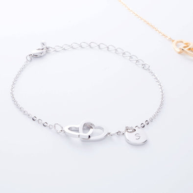925 Sterling Silver Personalized Initial Double Hearts Anklet