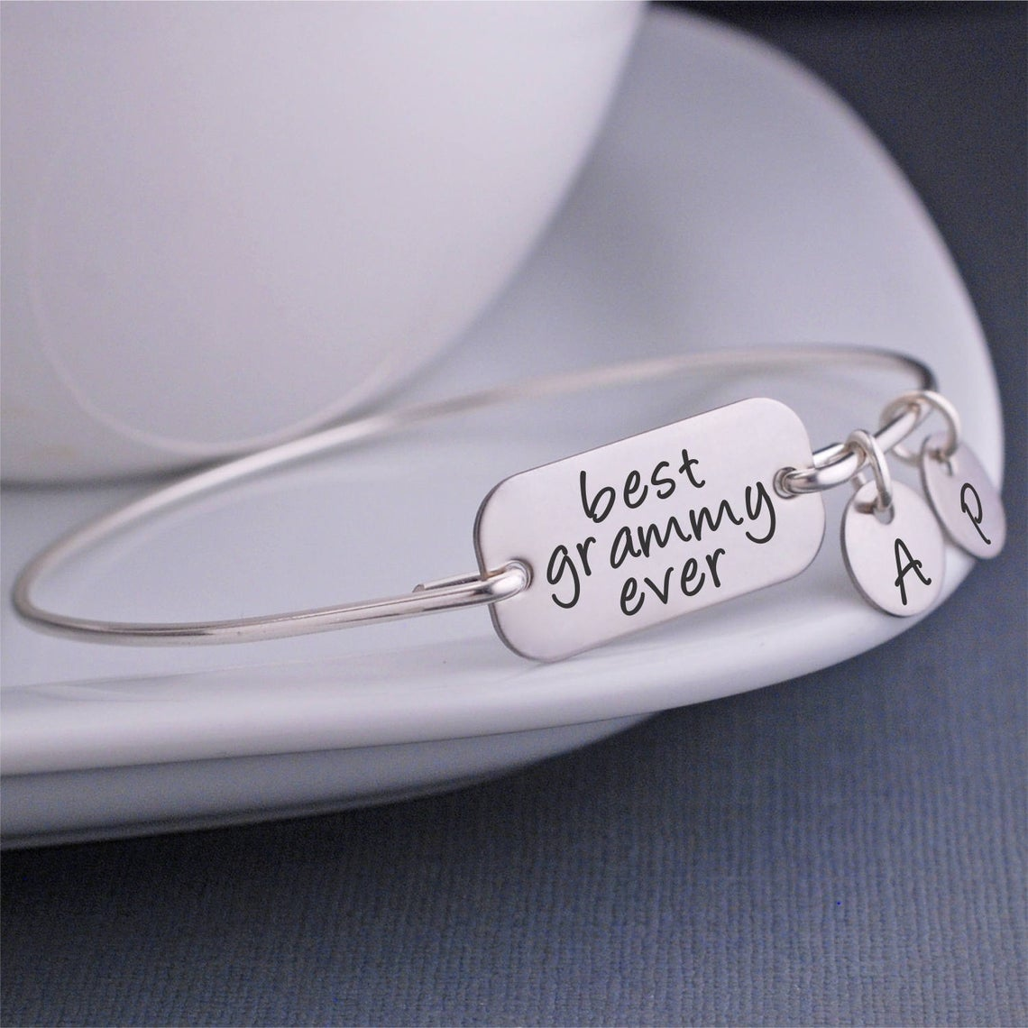925 Sterling Silver Personalized Best Grammy Ever With Initials