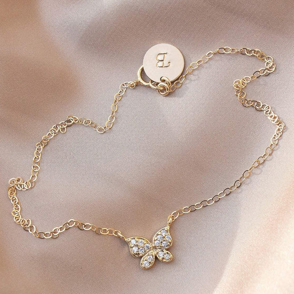 925 Sterling Silver Butterfly Anklet With A Personalized Custom Stamped Initial Disc - onlyone