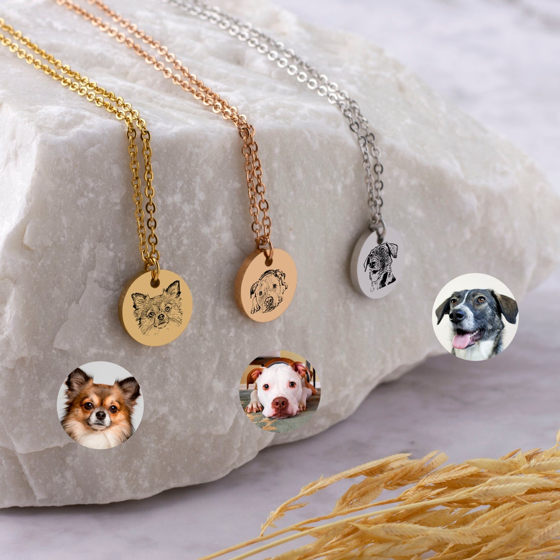 925 Sterling Silver Personalized Pet Photo Engraved Necklace Gift for Cat Lovers