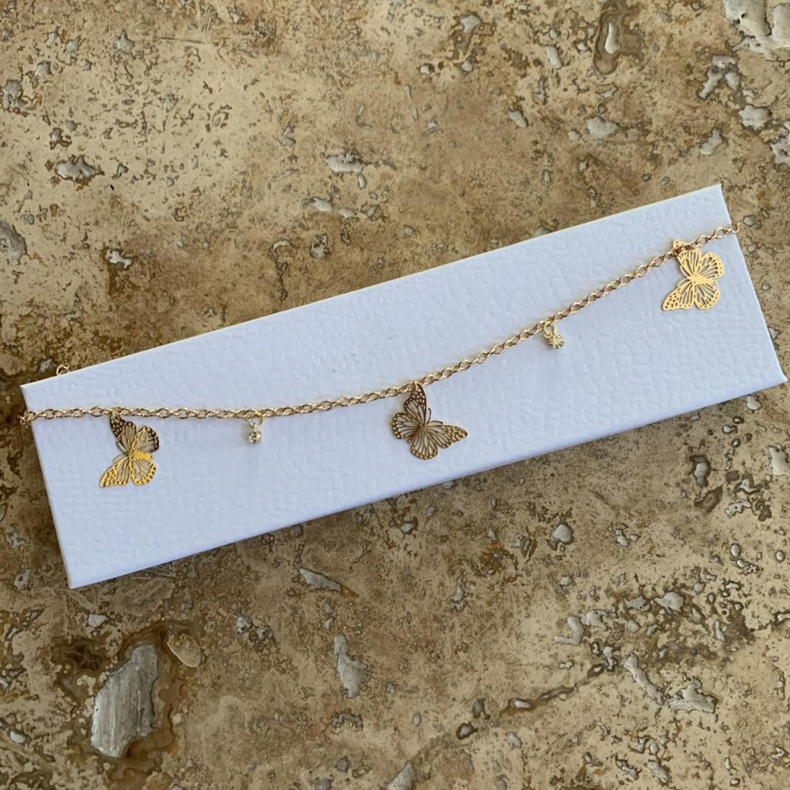 925 Sterling Silver Gold Hollow Out Butterfly Anklet
