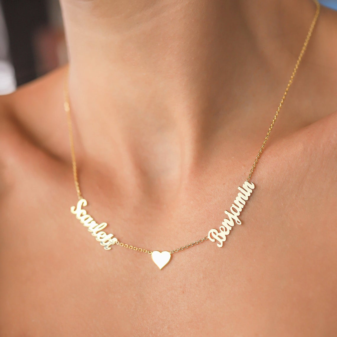 925 Sterling Silver Double Names With Heart Necklace