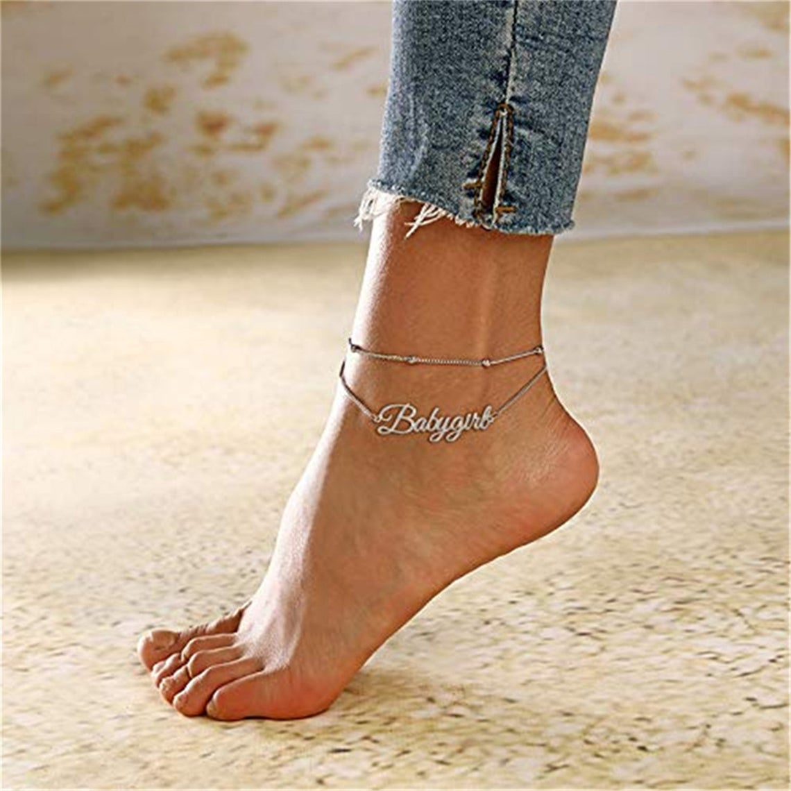 925 Sterling Silver Double Layers Name Anklet, Nameplated Anklet