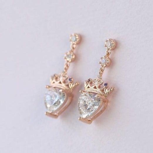 Crown Heart-shaped Birthstone earrings, holiday gifts, engagement jewelry. - onlyone