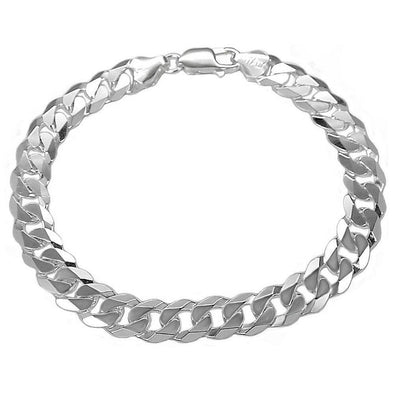 925 Sterling Silver Solid 7mm Wide Curb Link Chain Bracelet Men's Chunky Curb Link Bracelet Silver - onlyone