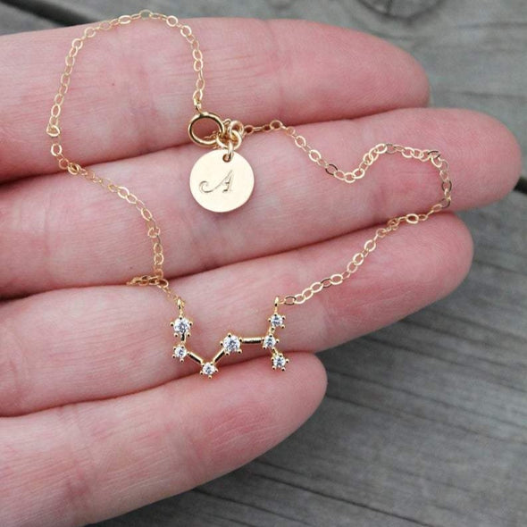 925 Sterling Silver Personalized Initial Constellation Anklet, Celestial Zodiac Anklet Chain - onlyone