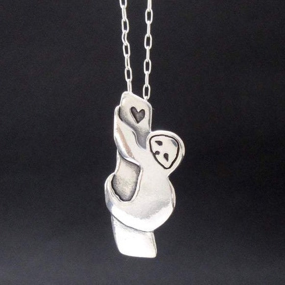 925 Sterling Silver Tree Sloth Necklace - Silver Sloth Pendant - onlyone