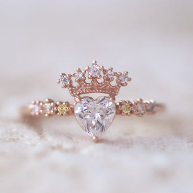 Crown Heart-shaped Birthstone Ring 925 Sterling Silver Engagement Ring. - onlyone