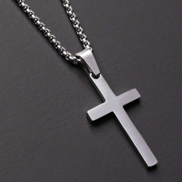 Stainless Steel Men's Silver Cross Pendant Necklace Father's Day Gift - onlyone